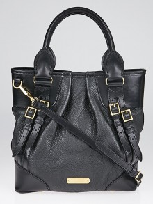 Burberry Black Pebbled Leather Bridle Whipstitch Tote Bag