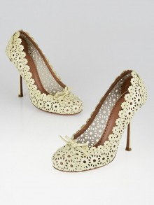 Alaïa Ivory Patent Leather Laser Cut Pumps 5.5/36