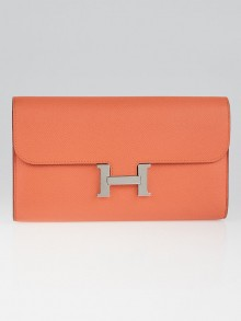 Hermes Mangue Epsom Leather Palladium Plated Constance Long Wallet