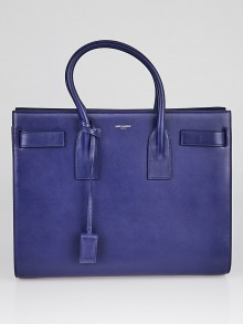 Yves Saint Laurent Blue Calfskin Leather Large Sac de Jour Tote Bag
