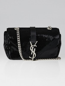 Yves Saint Laurent Black Sequin Baby Monogram Flap Shoulder Bag