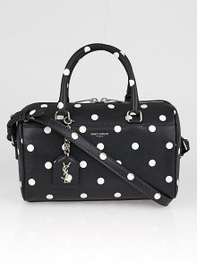Yves Saint Laurent Black/White Polka Dot Leather Classic Baby Duffle Bag