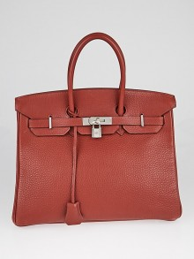 Hermes 35cm Bi-Color Rouge H Clemence/Ebene Chevre Leather Palladium Plated Birkin Bag