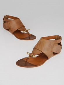Givenchy Tan Leather Obsedia Thong Sandals 9/39.5