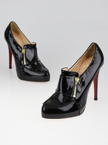 Christian Louboutin Black Patent Lapano Loafer Booties Size 9.5/40