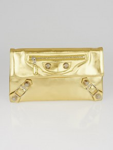Balenciaga Gold Leather Giant 12 Silver Envelope Clutch Bag