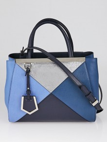 Fendi Blue/Silver Colorblock Saffiano Leather Petite Sac 2jours Elite Tote Bag 8BH253
