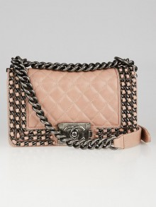 Chanel Light Pink Quilted Aged Calfskin Leather Chain Small Boy Bag