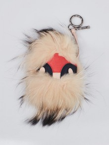 Fendi Pink/Beige Leather/Fox Fur 'Wild Jess' Key Chain and Bag Charm
