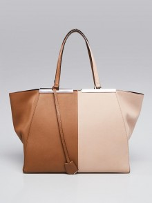Fendi Brown/Beige Leather Large 3Jours Tote Bag 8BH272