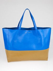 Celine Bright Blue/Camel Leather Horizontal Bi-Cabas Tote Bag