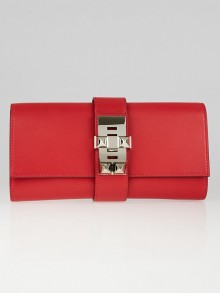 Hermes 23cm Bougainvillea Tadelakt Leather Palladium Plated Medor Clutch Bag