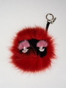 Fendi Red Fox Fur Monster Key Chain and Bag Charm