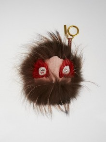 Fendi Brown/Pink Fox Fur 'Fur Yang' Monster Key Chain and Bag Charm
