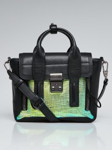 3.1 Phillip Lim Black Leather and Green/Blue Embossed Patent Leather Mini Pashli Bag