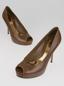 Gucci Brown Leather Peep Toe Platform Pumps Size 9.5/40