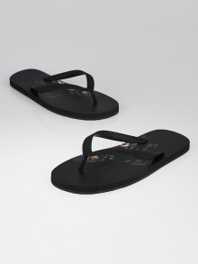 Givenchy Black Rottweiler Print Thong Sandals Size 9.5/40