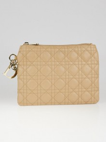 Christian Dior Beige Cannage Quilted Coated Canvas Panarea Clutch Bag
