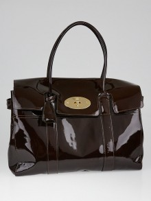 Mulberry Burgundy Patent Leather Bayswater Bag