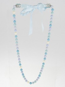Chanel Blue Bead and Silk Bow Necklace