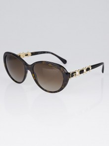 Chanel Tortoise Shell Acetate Cat Eye Frame Bijou Pearl Sunglasses-5337