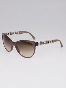 Chanel Grey Frame Chain and Leather Wayfarer Sunglasses 5215-Q