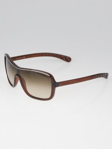 Chanel Brown Oversize Frame Gradient Tint Chain Sunglasses-6043