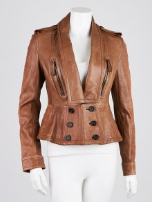 Burberry Prorsum Brown Lambskin Leather/Suede Jacket Size 8/42