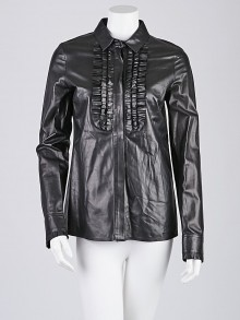 Gucci Black Leather Ruffle Button Down Blouse Size 8/42