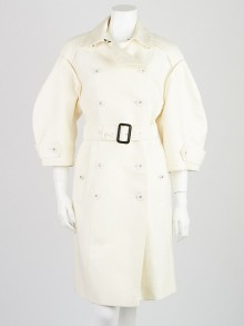 Burberry White Cotton Blend 3/4 Length Sleeve Double Breasted Coat Size 10/42