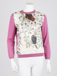 Gucci Purple Wool Floral Silk Sweater Size M