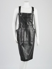 Alexander McQueen Black Leather Sleeveless Dress Size 8/42