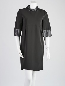 Gucci Black Viscose Blend and Leather Dress Size M