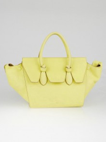 Celine Yellow Pebbled Calfskin Leather Mini Tie Tote Bag