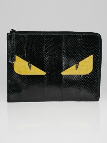 Fendi Black Snakeskin Monster Clutch Bag