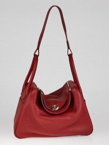 Hermes 30cm Rouge Garance Clemence Leather Palladium Plated Lindy Bag