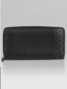 Gucci Black Lambskin Leather and Guccissima Trim Long Zip Wallet