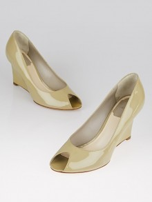 Christian Dior Beige Patent Leather Peep-Toe Wedges Size 6.5/37