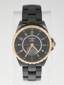 Chanel J12-365 Black Ceramic and 18k Yellow Gold 36.5mm Automatic Watch-H3838