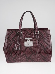 Gucci Wine Python Lady Lock Large Top Handle Bag