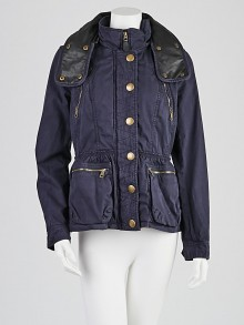 Burberry Brit Blue Cotton Peplum Jacket Size 6