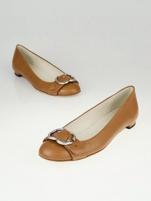 Gucci Brown Leather GG Buckle Ballet Flats Size 6.5/37