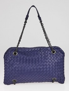 Bottega Veneta Blue Intrecciato Woven Nappa Leather Duo Bag