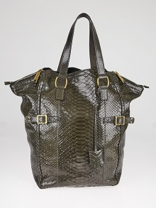 Yves Saint Laurent Green Python Large Downtown Bag