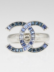 Chanel Silvertone Metal and Blue Crystal CC Rings Size 6.5