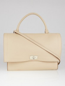 Givenchy Beige Calfskin Leather Medium Shark Lock Satchel Bag