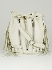 Yves Saint Laurent White Leather Fringe Rider Small Bucket Bag