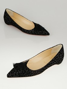 Christian Louboutin Black Leather and Suede Leopard Print Gwalior Flats Size 7/37.5