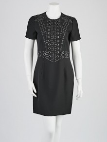 Givenchy Black Polyester Grommet Dress Size 8/42