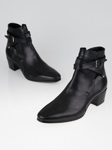 Yves Saint Laurent Black Leather Pointed-Toe Ankle Boots Size 9.5/40
